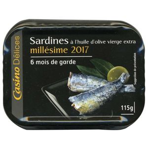 PRODUIT DE SARDINE CASINO Sardines Millésime 2017 115g