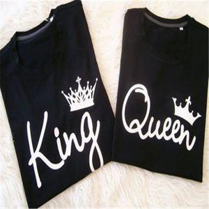 T-SHIRT King et Queen lettres impression couple tees noir