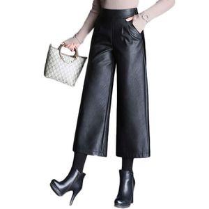 PANTALON Pantalon Femme en Simili Cuir Large Couleur Unie T