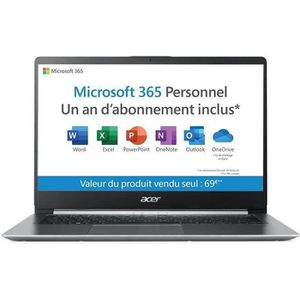 "Vente PC Portable PC Ultrabook-ACER Swift 1 SF114-32-P6M2 - 14"" FHD - Pentium N5000 - RAM 4Go - Stockage 64Go -Windows 10 S+Office 365 Perso 1 an-Gris pas cher"