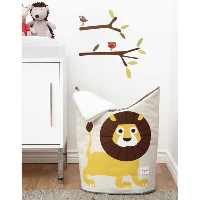 3 sprouts panier linge lion beige jaune et marron achat vente petit rangement. Black Bedroom Furniture Sets. Home Design Ideas