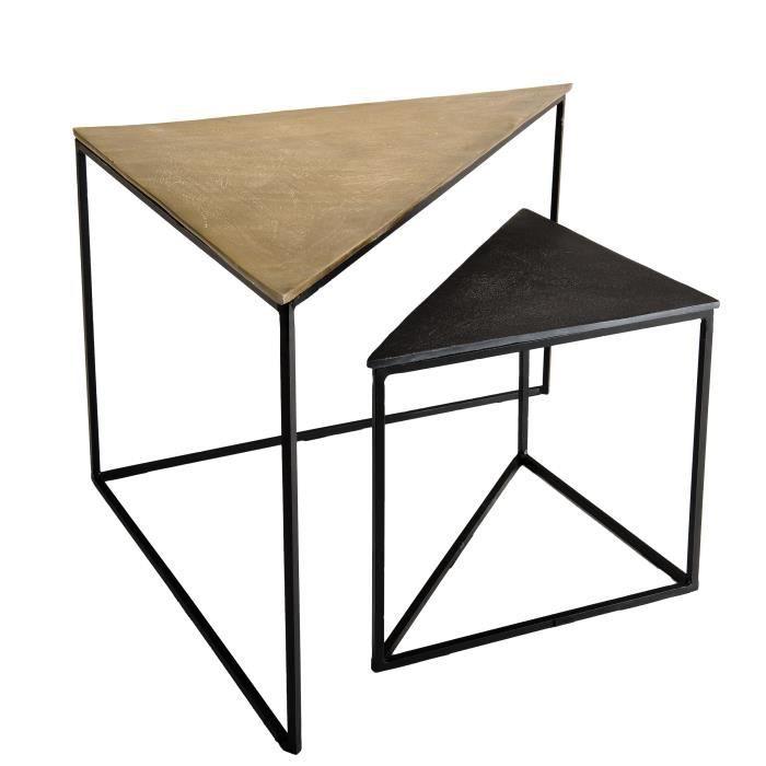 Set de 2 tables gigognes triangles - Aluminium doré et noir - Pieds métal