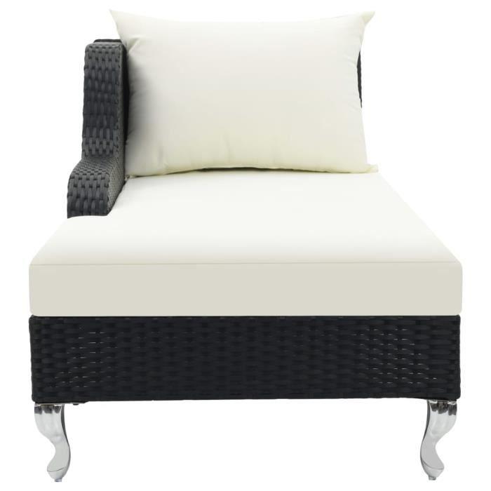 KAI Chaise longue avec coussin Noir 210x75x78 cm Résine tressée