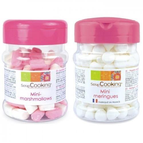 2 petits pots : mini meringues en forme de gouttes, et mini-marshmallows
