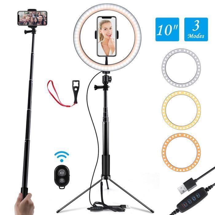 Photographie LED 10 - Selfie Anneau lumière Youtube vidéo Photo Studio lumière avec support réglable Télécommande 120 LED Ringlight