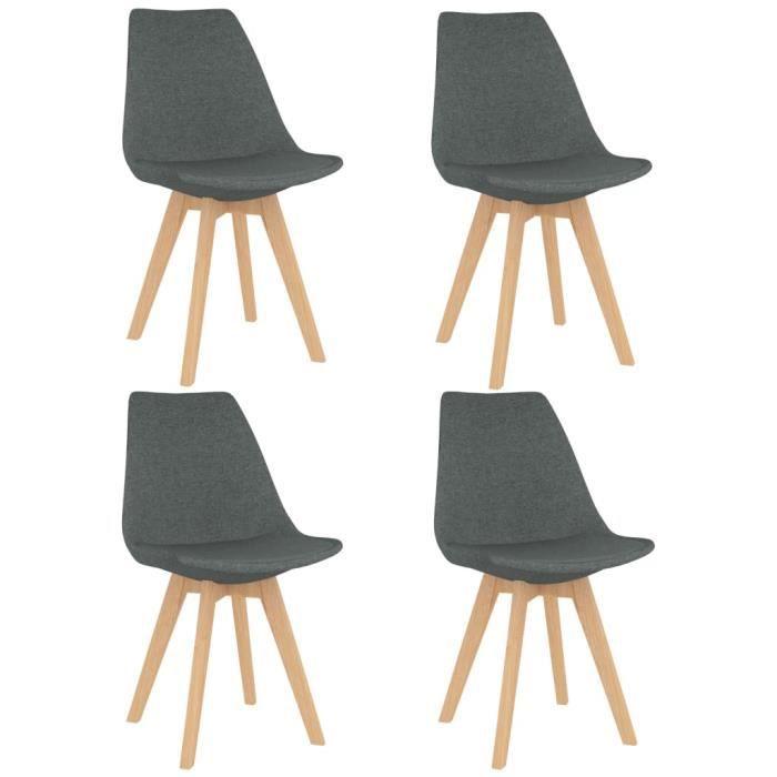 Vintage Chaises de Salle à Manger Style Contemporain Décor - Lot de 4 Fauteuil Chaises de Cuisine Scandinave Gris clair Tissu ®XGUMS