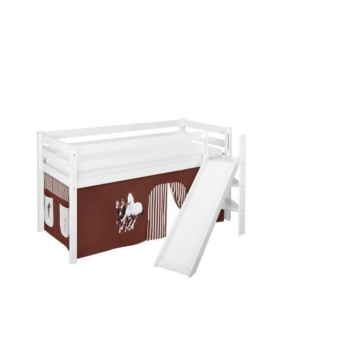 Lit surélevé ludique JELLE 90x200 cm Chevaux marron beige - LILOKIDS - blanc laqué - avec toboggan incliné et rideaux