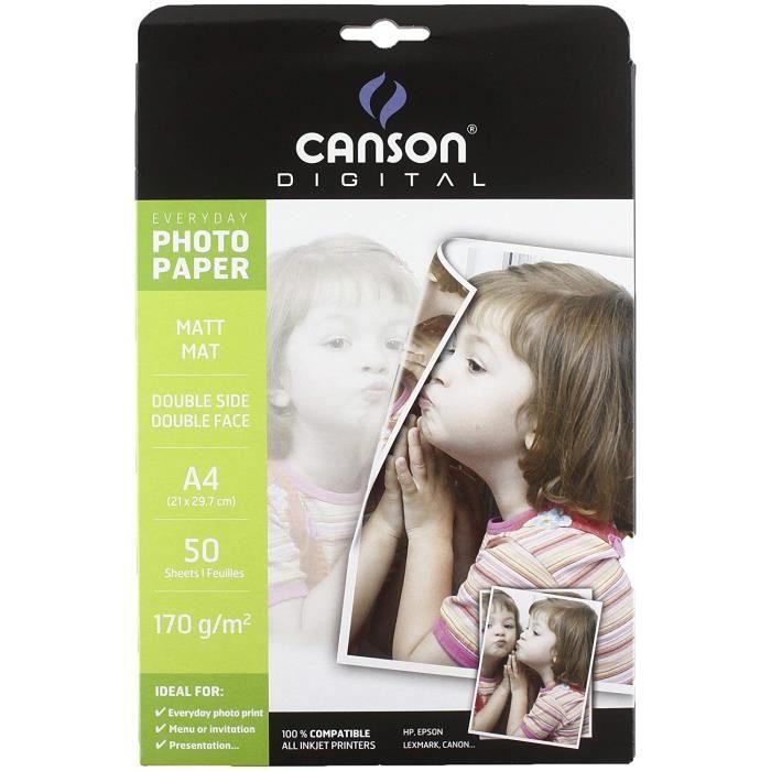 Canson Digital Everyday Papier photo A4 mat 50 feuilles Blanc