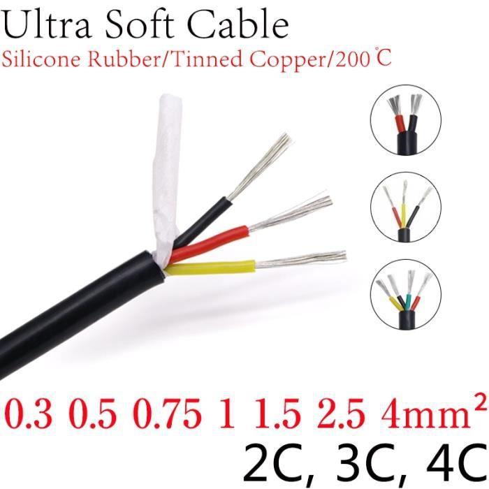 Black Square 1mm 4 Cores -Câble carré en caoutchouc de Silicone Ultra souple, isolé, Flexible, fil en cuivre haute température, 0.3