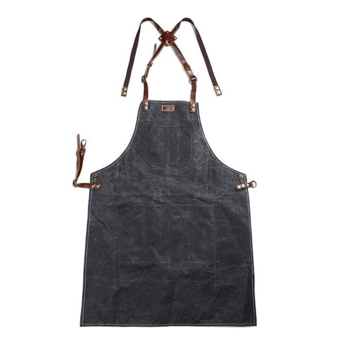 A015 tablier en cuir et cire d'huile Tablier à outils, toile de cire d'huile, tabliers de jardinage - Black-Une dimension