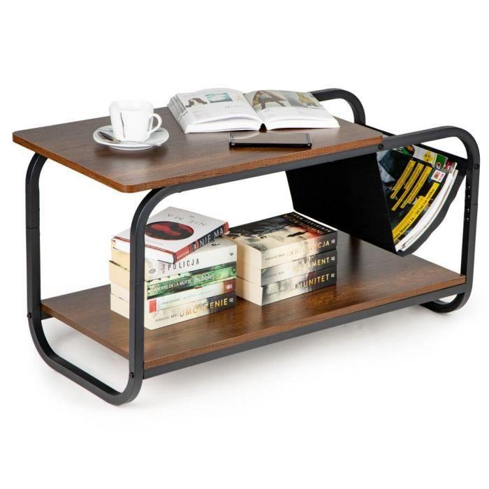 MSTORE - Table basse style loft salon/séjour - Dimensions 86.5x46x40 cm - Porte-revues intégré + double plateau - Table à café -