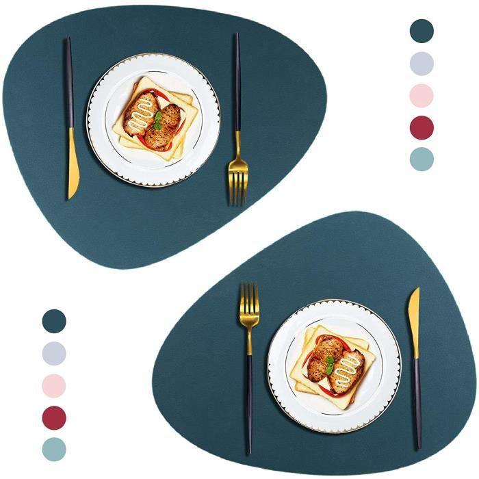 SOUS-ASSIETTE Sets De Table En Cuir PU, Lot De 2 Sets De Table Lavable Et Dessous De Verre, Antid&eacuterapant Napperons Pour C135