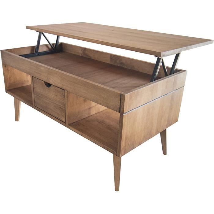 LoMasCasa Karla Table basse relevable avec tiroir coulissant central, bois massif de pin naturel couleur bois ciré Pieds coniqu A103