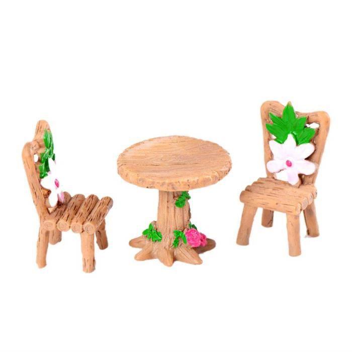 Objets de décoration Morza 3PCS Table Chaise Résine Artisanat Micro Paysage Ornement Jardin féerique Miniature Terrarium 15729