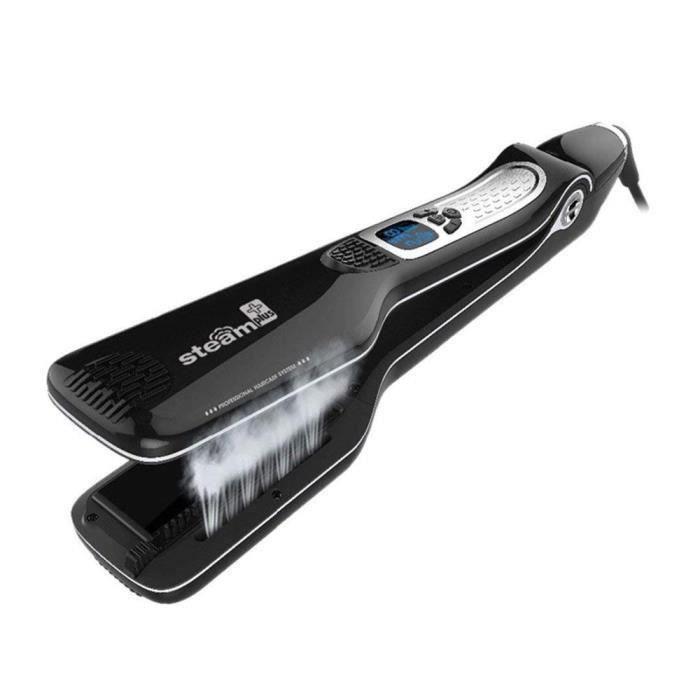 Noir Lisseur vapeur Steamplus - Lisseur de salon professionnel - Plaques double technologie - Lissage longue durée