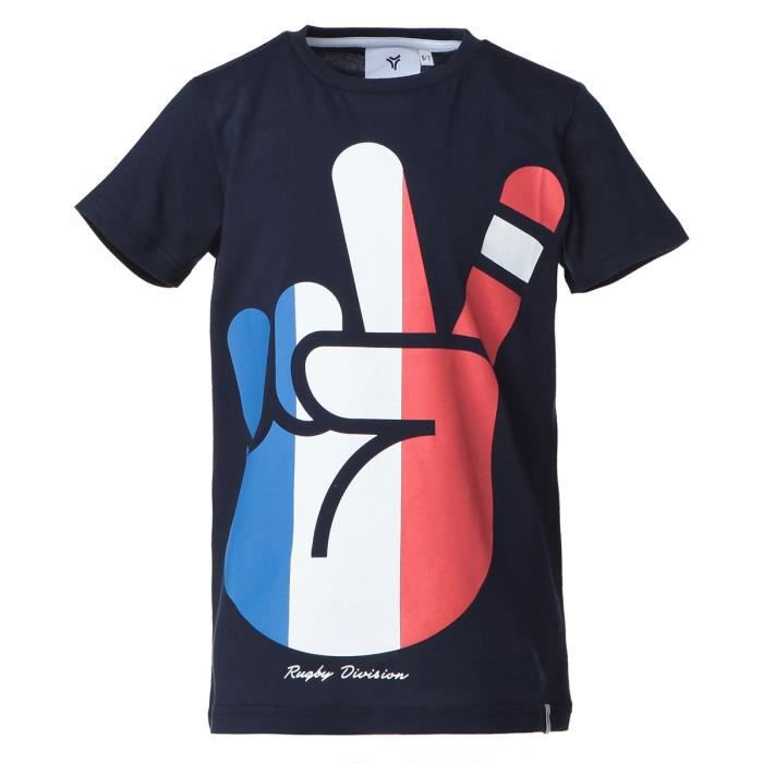 RUGBY DIVISION T-shirt col rond Peace - Enfant garçon - Bleu Marine
