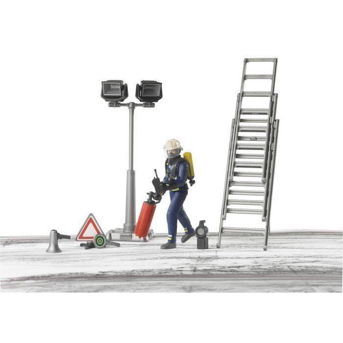 BRUDER - Set Pompier avec personnage et accessoires - 10,7 cm