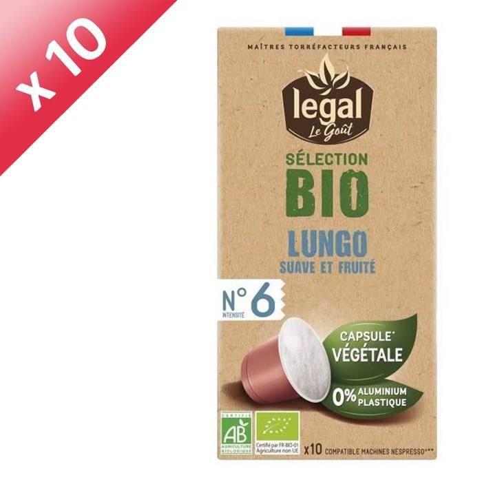 [LOT DE 10] LEGAL Cafés Selection Bio Lungo - 10 Capsules