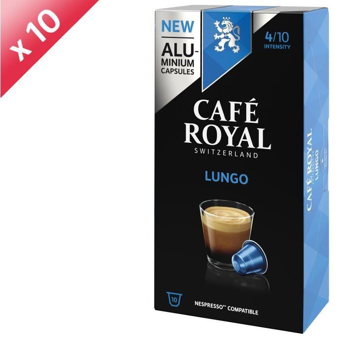 [LOT DE 10] CAFE ROYAL Café Lungo - Compatible Nespresso aluminium - 10 capsules
