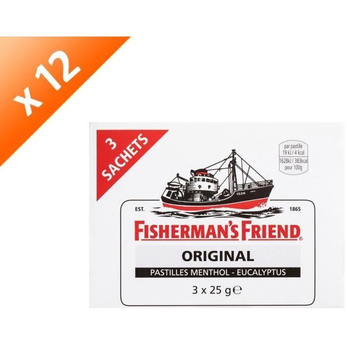 [LOT DE 12] FISHERMAN'S FRIEND Bonbon sucré menthol-eucalyptus - 3x 25g
