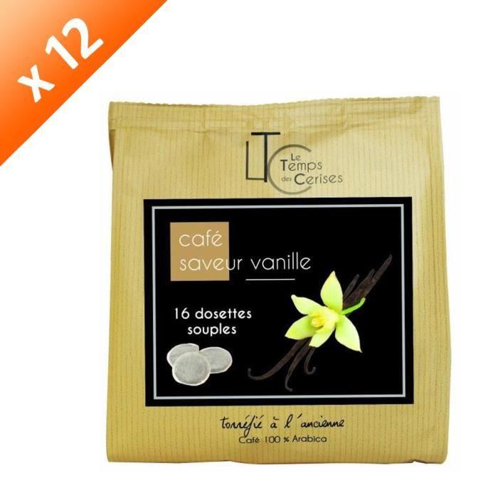 [LOT DE 12] LE TEMPS DES CERISES Café Saveur Vanille - 16 dosettes - 112g