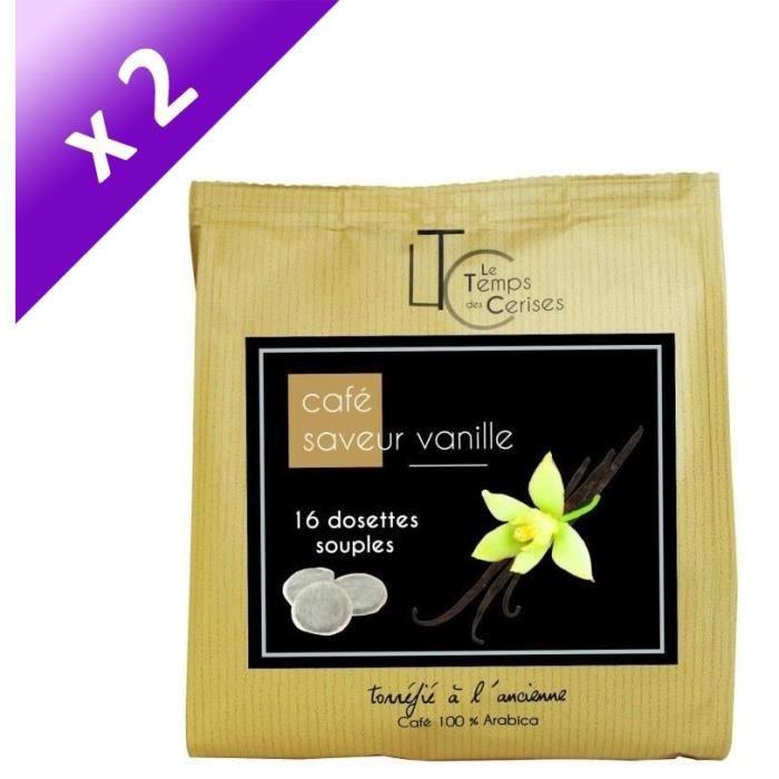 [LOT DE 2] LE TEMPS DES CERISES Café Saveur Vanille - 16 dosettes - 112g
