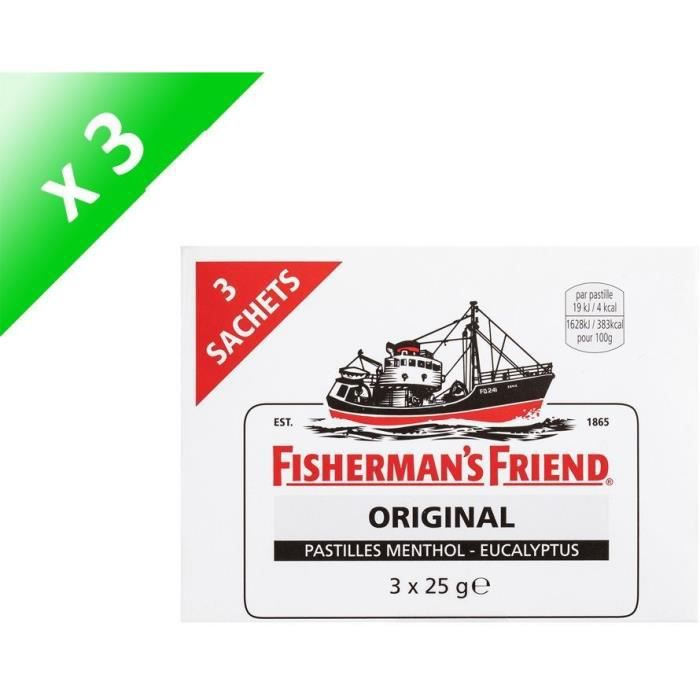 [LOT DE 3] FISHERMAN'S FRIEND Bonbon sucré menthol-eucalyptus - 3x 25g