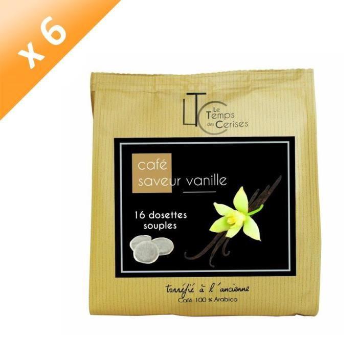 [LOT DE 6] LE TEMPS DES CERISES Café Saveur Vanille - 16 dosettes - 112g
