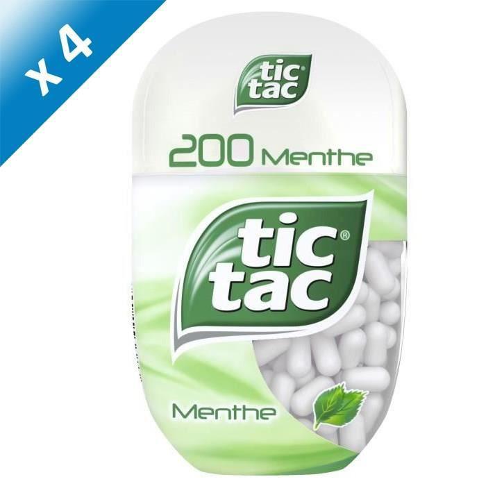 [LOT DE 4] TICTAC Pastilles à la menthe T200 - 98 g