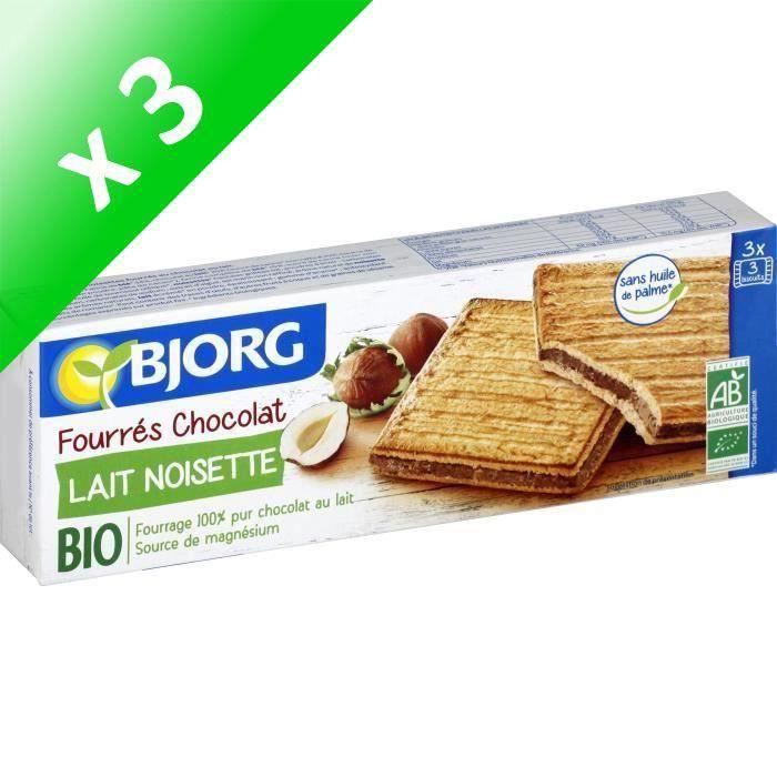 [LOT DE 3] Bjorg Fourrés Chocolat Lait Noisettes 225g