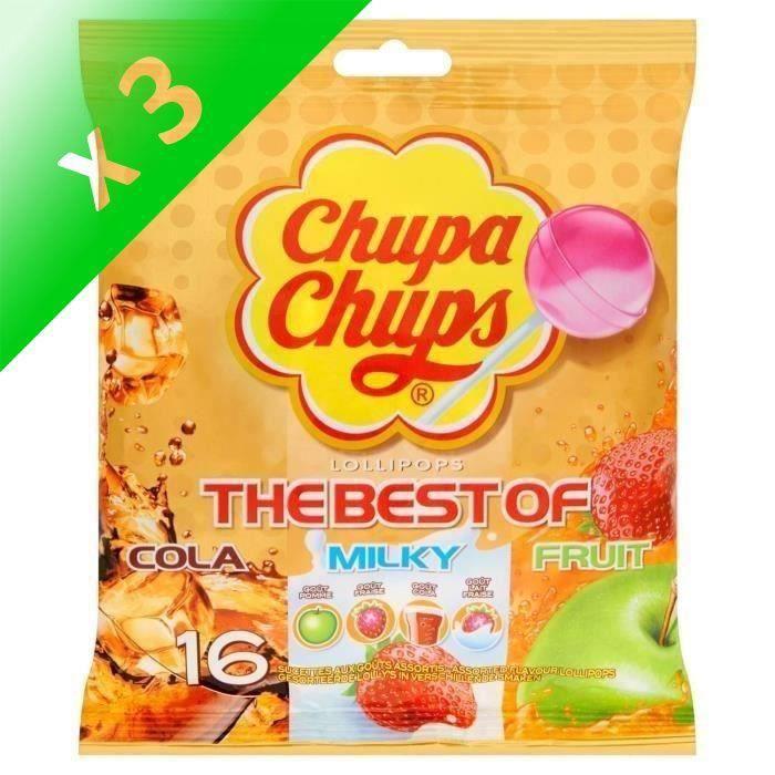 CHUPA CHUPS Sucettes Lollipops The Best Of, goûts cola, milky et fruit - 192 g (Lot de 3)