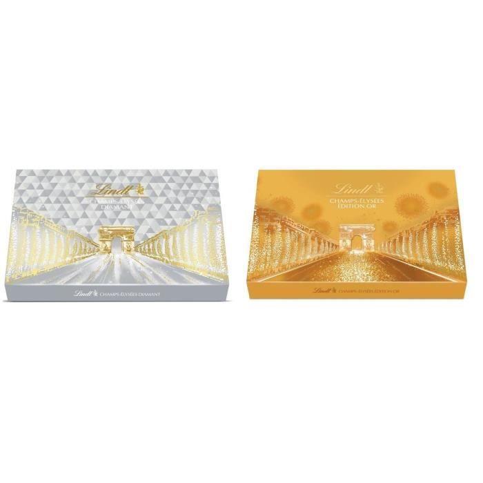 Lot de 2 - 1 LINDT Boîte de chocolat Champs-Elysées Edition Or 468 g + 1 Boîte de chocolat Champs-Elysées Edition Diamant 468 g