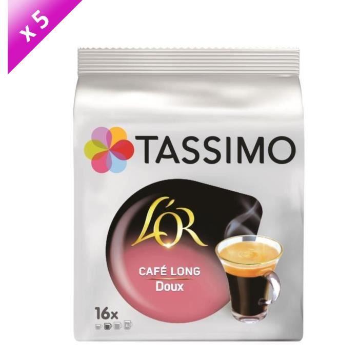 Lot de 5 - Tassimo L'Or Café long Doux café en dosettes x16 - 89g