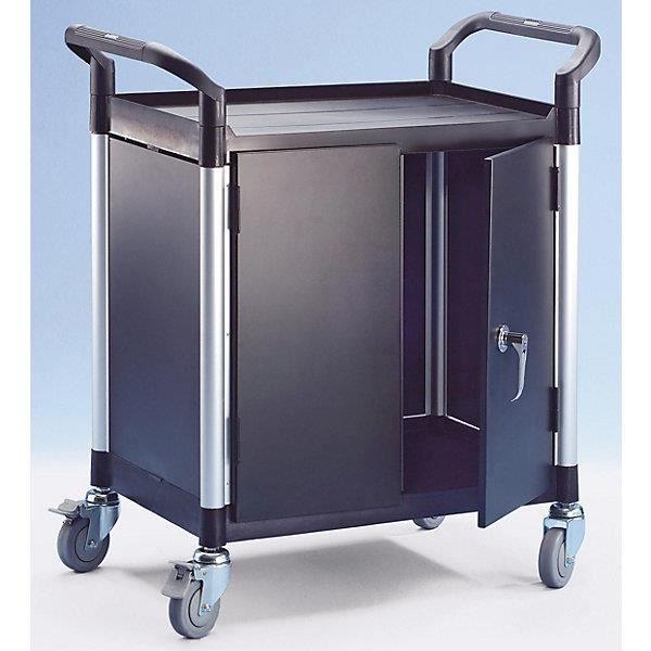 Chariot multi-usages à panneaux métalliques - 2 panneaux latéraux, 1 panneau arrière, portes battantes 2 plateaux, h x l x p 950 x