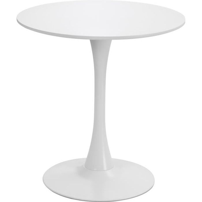 Table ronde tulipe design Ø 60 x 73H cm métal MDF blanc 60x60x73cm Blanc