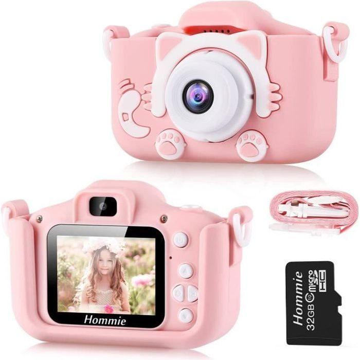 Appareil Photo pour Enfants, Mini Caméra Enfant Numérique Rechargeable Photo/Vidéo pour Filles Garçons (Carte Micro Sd 32G Incluse)