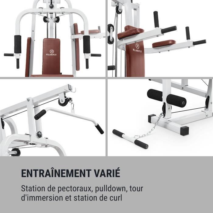 Station de musculation - KLARFIT Ultimate Gym 9000 - appareil à charge guidée + 100kg de poids fournis - blanc