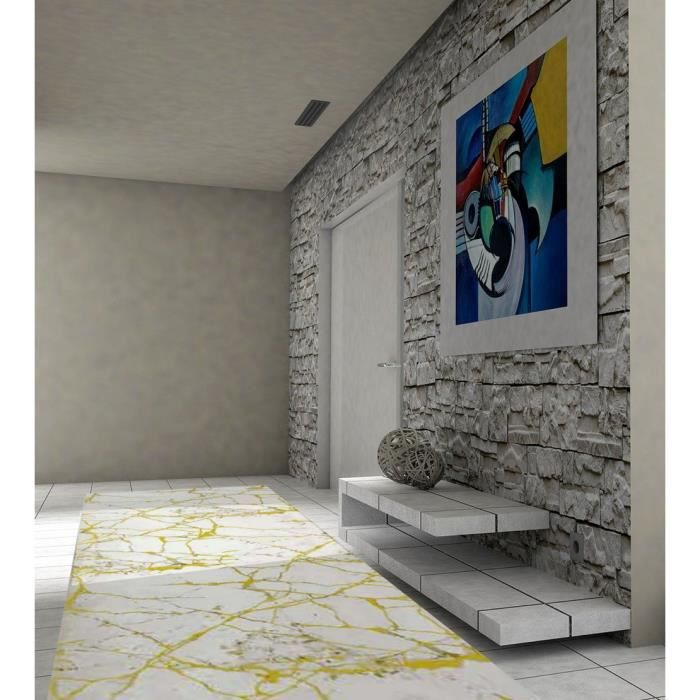Tapis de couloir effet Marbré Jaune 80x150cm