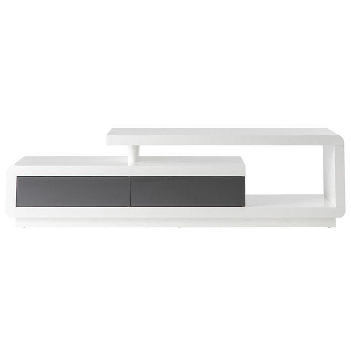 Miliboo - Meuble TV design laqué blanc avec tiroirs gris ETANA