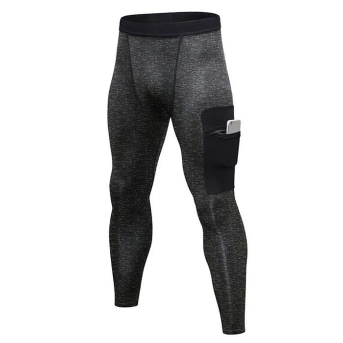 Pantalons de Compression pour Hommes Collants de Sport Leggings Course Séchage Rapide Poche Pantalons de Sport pour Blanc
