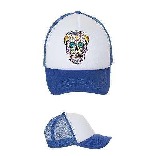 Casquette blanc - bleu royal tete de mort fleurs style mexicain