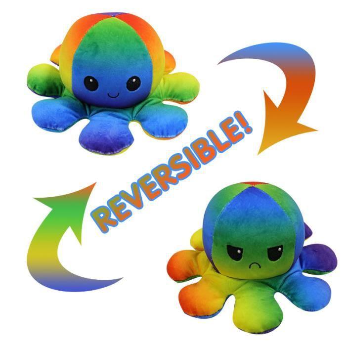 Jouet en Peluche Pieuvre Mignonne Double Face Flip Octopus en Peluche, Coloré