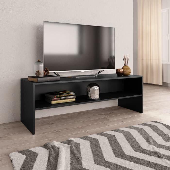 Meuble TV-contemporain Meuble salon Banc TV Noir 120 x 40 x 40 cm Aggloméré