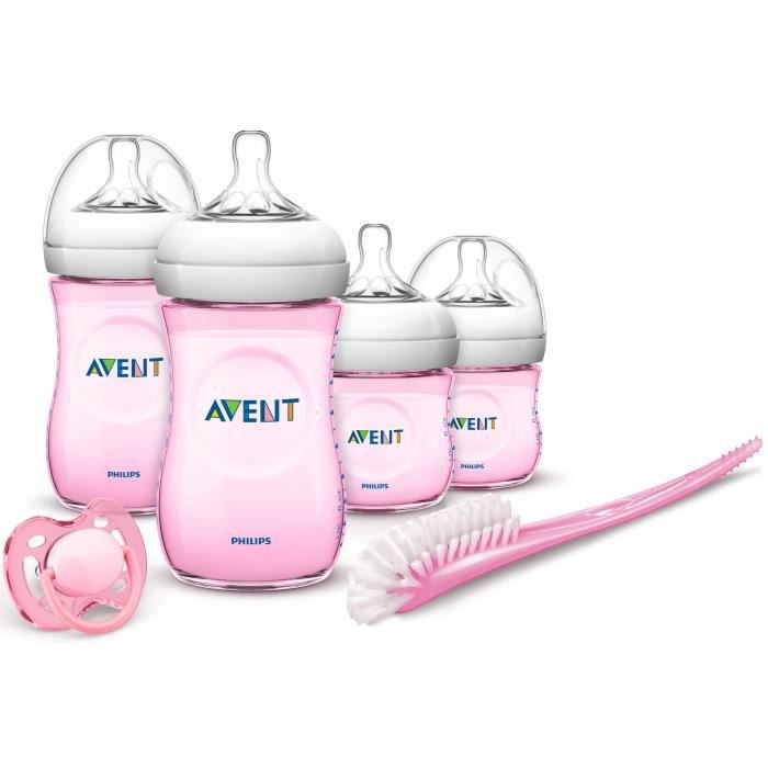 PHILIPS AVENT Pack biberons Natural + goupillon + sucette 0-6M - Rose