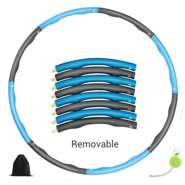 Hula Hoop réglable avec pneus lestés en mousse souple avec 8 sections Pour gym à domicile -Bleu