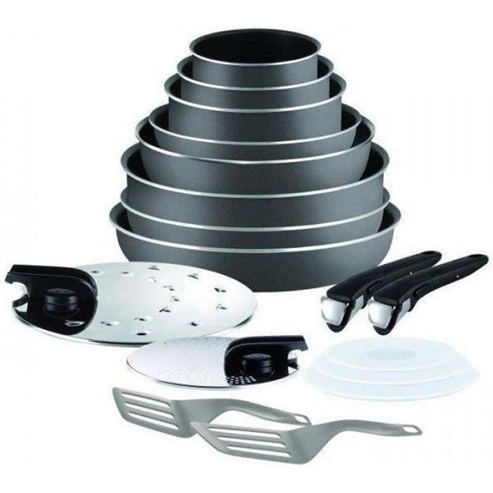 TEFAL INGENIO ESSENTIAL Batterie de cuisine 17 pièces L2049002 16-18-20-22-24-26-28cm Tous feux sauf induction