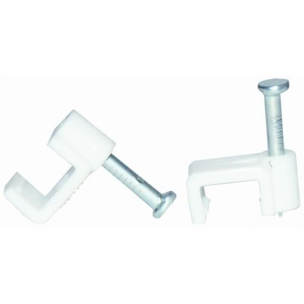 VOLTMAN Lot de 20 attaches professionnelles - câble méplat 1 mm² - Blanc
