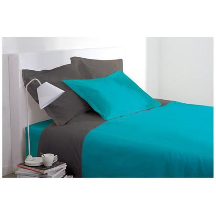 housse de couette 220 x 240 cm turquoise achat. Black Bedroom Furniture Sets. Home Design Ideas