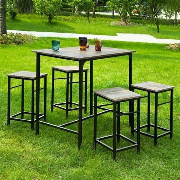 Pas Cher Ensemble Table De Bar 4 Chaises Set De 1 Table 4 Chaises Table Haute Cuisine Achat Vente Mange Debout Pas Cher Ensemble Table De Cdiscount