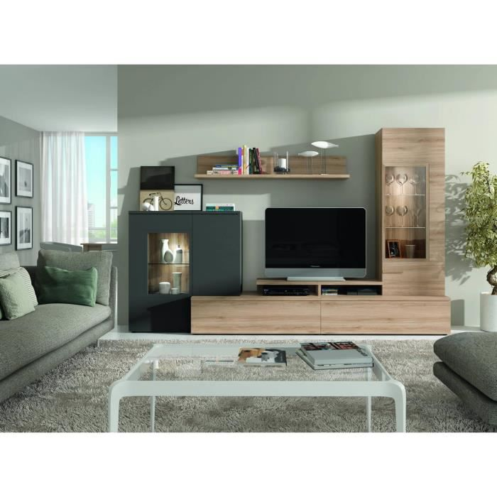 ensemble bibliotheque et meuble tv nils chene clair. Black Bedroom Furniture Sets. Home Design Ideas